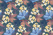 Vector Floral Seamless Pattern. Blue Garden Flowers, Purple Sage, Small Yellow Flowers, Brown Leaves Isolated On Blue Background. For Textiles, Fabric, Wallpaper, Kitchen Decor, Paper, Accessories.