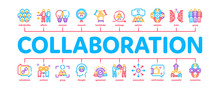 Collaboration Work Minimal Infographic Web Banner Vector. Human And Brain Collaboration, Worker Research And Handshake, Cooperation And Organization Illustrations