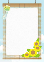 Vector Vertical Background With Wind Chimes And Sunflowers On The Rattan Blind.