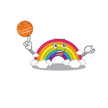 Gorgeous Rainbow Mascot Design Style With Basketball