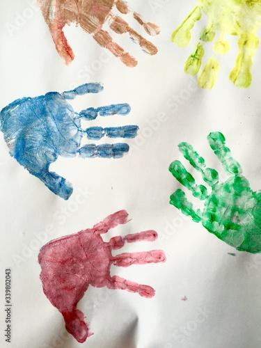 Full Frame Shot Of Handprint Of White Paper Tapéta, Fotótapéta