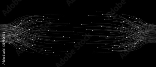 abstract  lines with dots over dark background. connecting or big data concept
