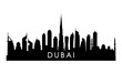 Dubai UAE skyline silhouette. Black Dubai city design isolated on white background.