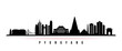 Pyongyang skyline horizontal banner. Black and white silhouette of Pyongyang, North Korea. Vector template for your design.