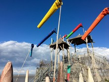 Low Angle View Of Windsocks Against Sky