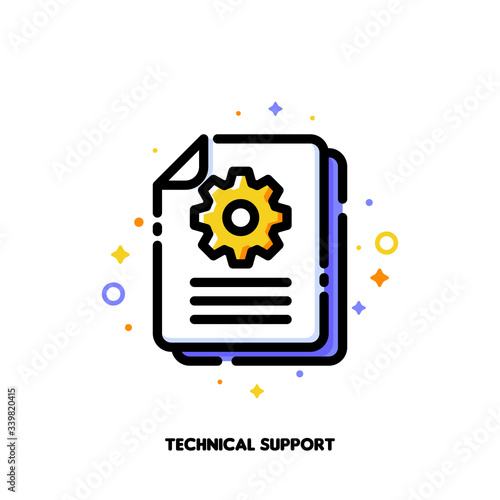 Vászonkép Manual document icon with paper file and gear for big data processing technology or capturing digital information concept