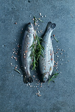 Two Raw Trouts With Herbs And ...