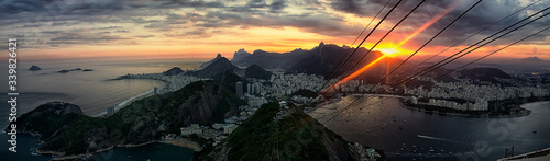 Panorama of Rio de Janeiro, bird's-eye View of Rio de Janeiro at sunset, beautif Wallpaper Mural