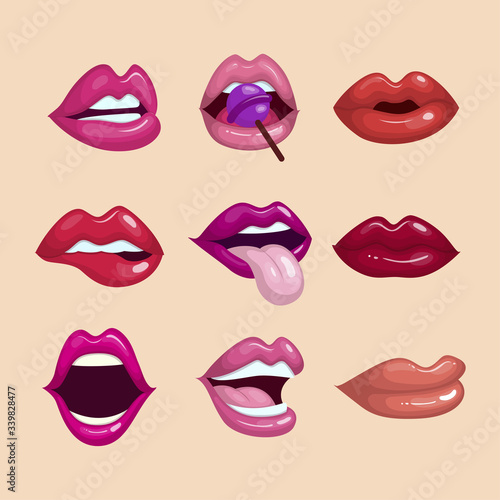 Fotografia Colorful lips collection with flat design
