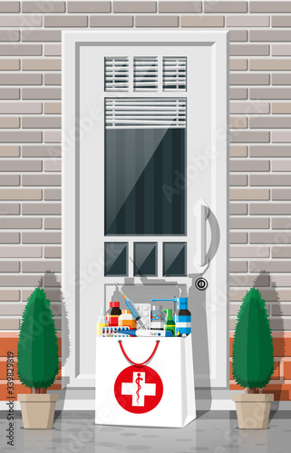 Paper bag of drugs left at door of living house. Medical delivery from pharmacy or hospital. bottles, tablets, pills, capsules and sprays for illness express delivery. Flat vector illustration Fototapete
