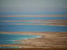 Panoramic View On Dead Sea With Clear Blue Sky And Brown Negev Desert, Ein Gedi, Israel, Near East