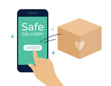 Contactless Safe Delivery Service Concept. Stay Home, Order Goods Online By Smartphone. Human Hand Pressing Button To Order Express Delivery. Box Flying Out Of Mobile Phone Screen. Vector Illustration