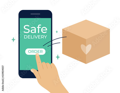 Contactless safe delivery service concept Fototapete