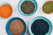 Schüsseln voller Hülsenfrüchte: Schwarze Bohnen, rote und grüne Linsen, Mungbohnen und Berglinsen