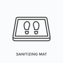 Sanitizing Mat Line Icon. Vect...