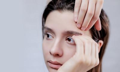 Ugly problem skin girl, teen girl having pimple