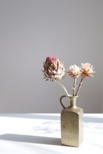 Flower Buds In Brass Vase On Table Against Wall