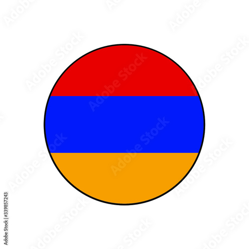Armenia Flag Button rounded on isolated white for Middle East, South Caucus, or Europe push button concepts Canvas-taulu