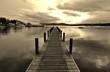 Boardwalk Over Lake Against Sky