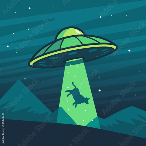 UFO abducting a cow, summer night farm landscape. Wallpaper Mural