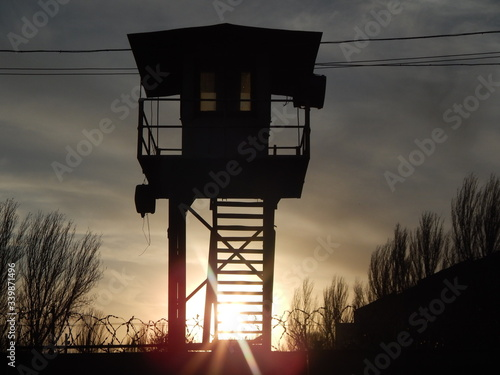 Prison silhouette of a tower. Fototapeta