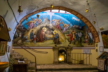 The Interior Of Underground Church In Name Of St. George Victorious In A Cave On Territory Of Greek Monastery - Shepherds Field In Bayt Sahour, Palestine