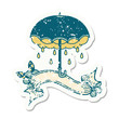 grunge sticker with banner of an umbrella and storm cloud