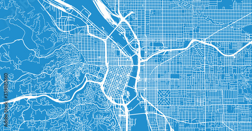 Fototapeta Urban vector city map of Portland, Oregon, United States of America obraz