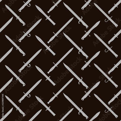 Obraz na płótnie Seamless vector pattern with bayonet knives