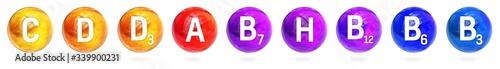 Vitamin set C, D, E, A ,H, B12 sphere molecule for healthcare medical pharmacy Wallpaper Mural