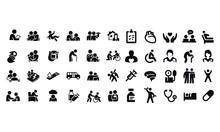 Geriatrics Icons Vector Design Black And White