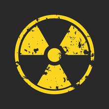 Vector Illustration Of Grunge Yellow Radioactive Hazard Warning Sign Painted Over Black Background.