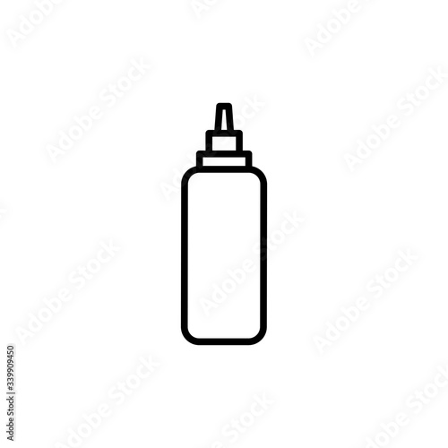 Fotografie, Tablou Vector sauce bottle outline icon. Ketchup and mustard bottle.