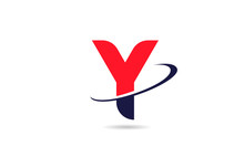 Y Alphabet Letter Logo Icon Design In Red Blue Color With Swoosh For Business And Company