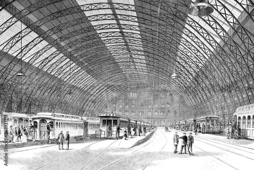Grand Central Depot New York interior platforms with trains, 1872 illustration l Canvas Print