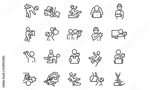 Obraz  Workplace Injury  Icons vector design  - fototapety do salonu