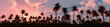 Leinwanddruck Bild - Palm trees on sunset background, silhouettes of palm trees at sunset, sky with palm trees
