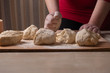 dumplings, ravioli, rolling pin, dough, board, hand, indoors, woman, female, motion, healthy, table, ingredient, organic, delicious, bowl, meal, cooking, culinary, bread, kitchen, lifestyles, slice, k