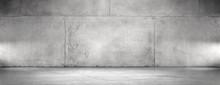 Concrete Wall And Floor Background Wide Panoramic Empty Spotlight Garage Scene