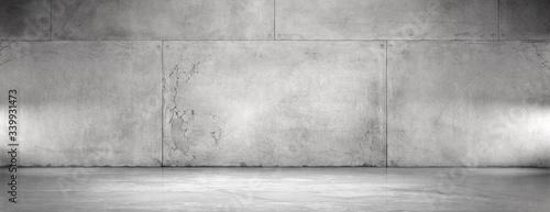 Obraz na plátne Concrete Wall and Floor Background Wide Panoramic Empty Spotlight Garage Scene