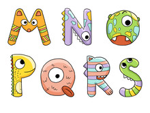 Cute Monster Dinosaur Children Alphabet Abc Isolated On White Background Letters M N O P Q R S Green Orange Purple Yellow Pink