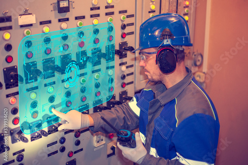 New technology for equipment quality control: energy engineer diagnoses electric Canvas Print
