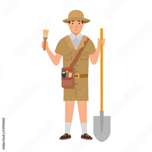 Cartoon archaeologist with a shovel and a tassel, character for children Wallpaper Mural