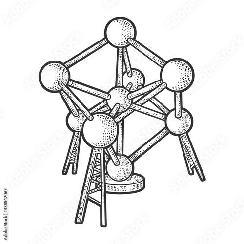 Atomium monument landmark building in Brussels sketch engraving vector illustration Canvas Print