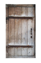 Old Wooden Closed Door Isolated On White Background.