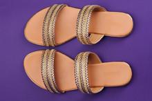 Golden Color Woman Sandals