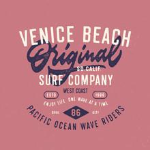 Venice Beach Original Surf Company T Shirt Graphics. Vintage West Coast Surfing Typography Apparel Print. Vector Design.