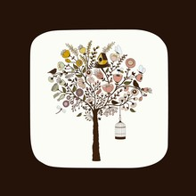Beautiful Floral Tree With Birdcage, Bird And Butterflies