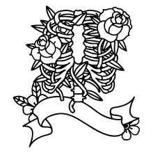 Black Linework Tattoo With Ban...