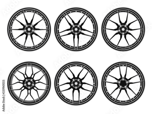 Set of car wheel disks, isolated on white background Canvas